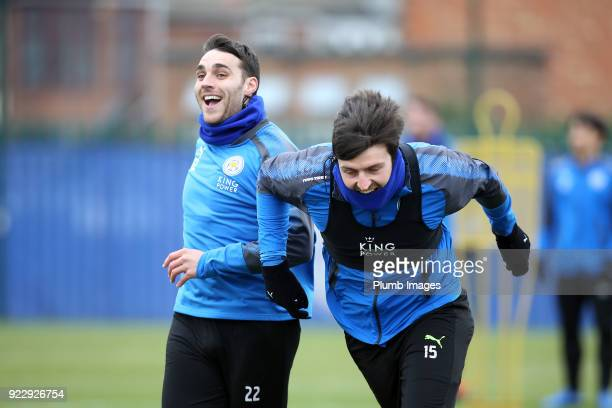 Matty James with Harry Maguire during the Leicester City training session at Belvoir Drive Training Complex on February 22nd 2018 in Leicester United...