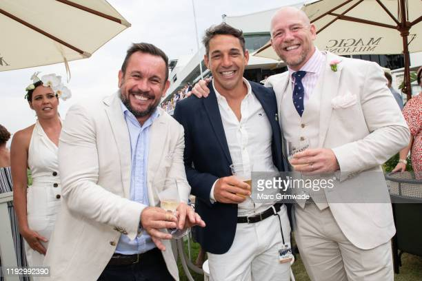 Matty Johns, Billy Slater and Mike Tindall attends the Moet Marquee Magic Millions Raceday at the Gold Coast Turf Club on January 11, 2020 in Gold...