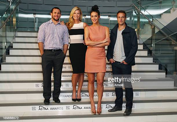 Matty Johns Deborah Hutton Megan Gale and Matt Shirvington pose during a media call where the ASTRA Awards Finalists are announced at Sydney Theatre...
