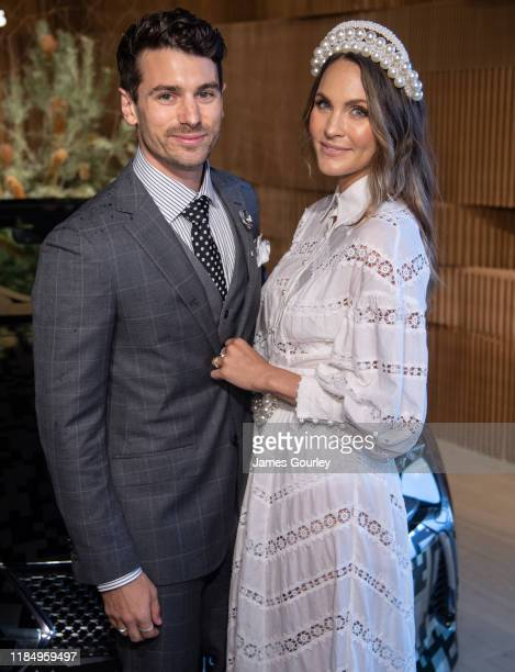 Matty Johnson and Laura Byrne attends the Lexus marquee during Derby Day at Flemington Racecourse on November 02 2019 in Melbourne Australia