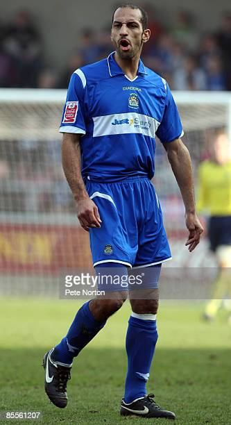 Matty McNeil of Stockport County in action during the Coca Cola League One Match between Northampton Town and Stockport County at Sixfields Stadium...