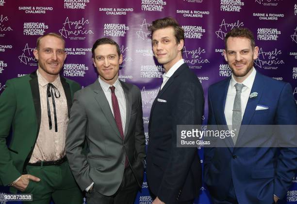 Matty Oaks Ron Todorowski Lee Aaron Rosen and Curt James pose at the 'Angels In America' on Broadway's National Theatre American Associates...