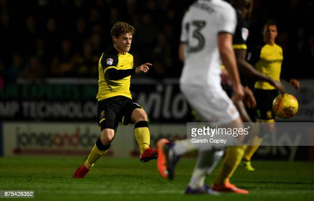 Matty Palmer of Burton scores his team's first goal during the Sky Bet Championship match between Burton Albion and Sheffield United at Pirelli...