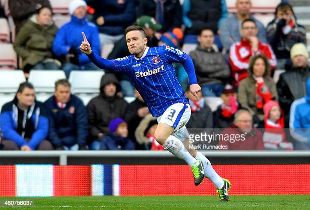 Matty Robson of Carlisle celebrates after scoring a goal to level the scores at 11 during the Budweiser FA Cup third round match between Sunderland...