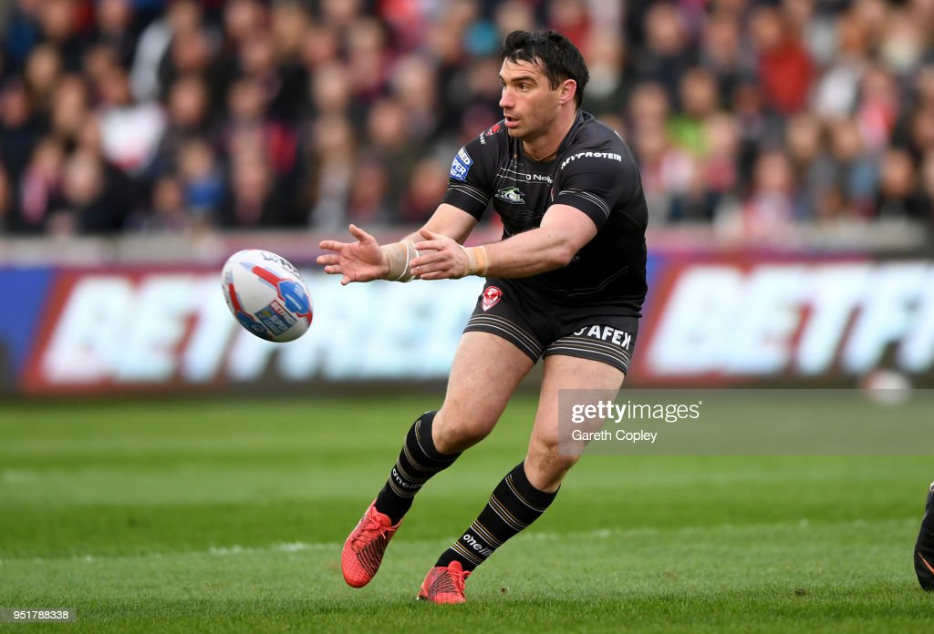Matty Smith of St Helens during the Betfred Super League match between Salford Red Devils and St Helens at AJ Bell Stadium on April 26, 2018 in Salford, England.