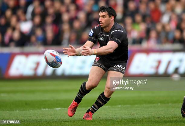 Matty Smith of St Helens during the Betfred Super League match between Salford Red Devils and St Helens at AJ Bell Stadium on April 26 2018 in...