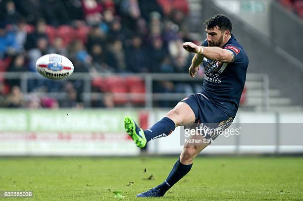 Matty Smith of St Helens scores a conversion during the Karalius Cup match between St Helens and Widnes at The Totally Wicked Stadium on January 22...