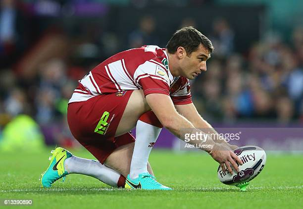 Matty Smith of Wigan Warriors lines up a penalty during the First Utility Super League Final between Warrington Wolves and Wigan Warriors at Old...