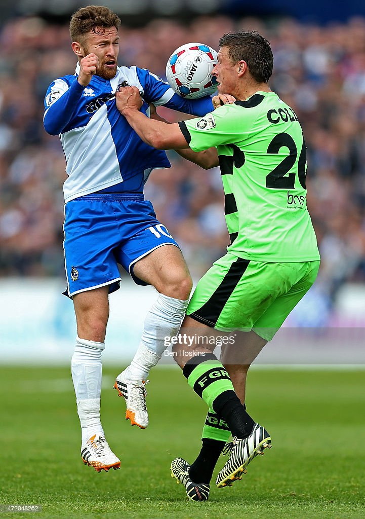 Matty Taylor of Bristol and Danny Coles of Forest Green battle for posession during the Vanarama Football Conference League Play Off Semi Final Second Leg between Bristol Rovers and Forest Green Rovers at Memorial Stadium on May 3, 2015 in Bristol, England.