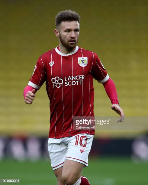 Matty Taylor of Bristol City during the Emirates FA Cup Third Round match between Watford and Bristol City at Vicarage Road on January 6 2018 in...