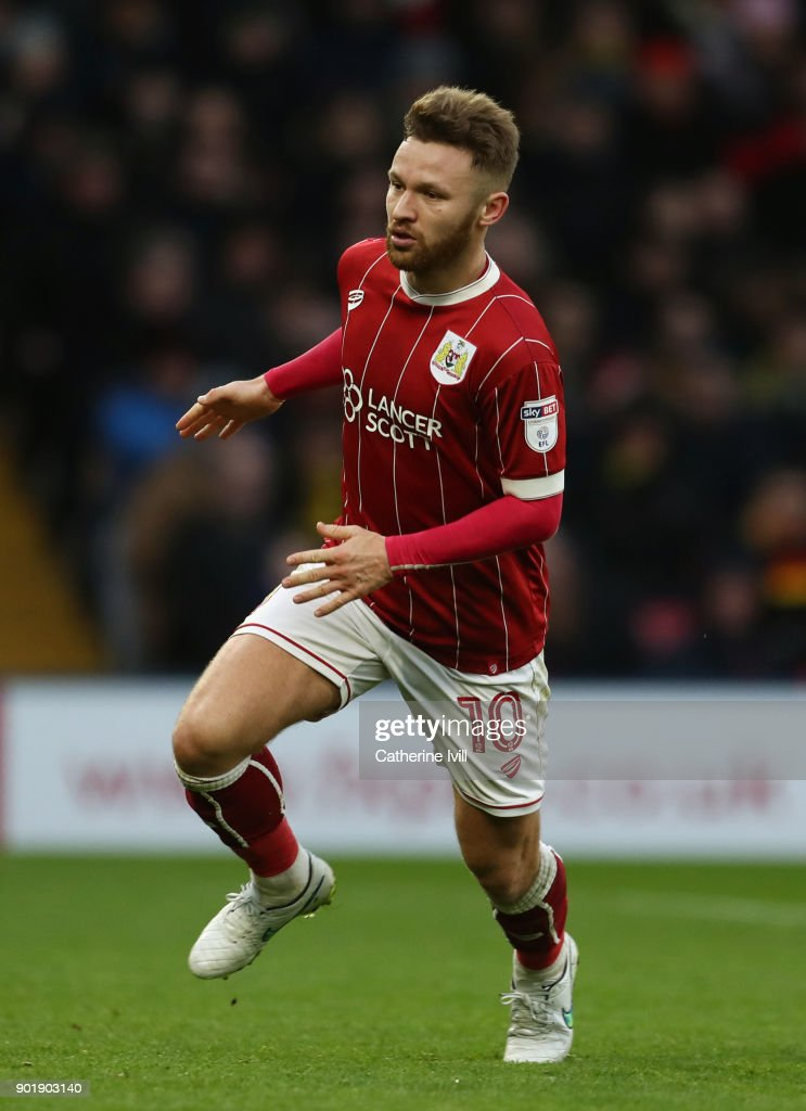 Matty Taylor of Bristol City during the Emirates FA Cup Third Round match between Watford and Bristol City at Vicarage Road on January 6, 2018 in Watford, England.