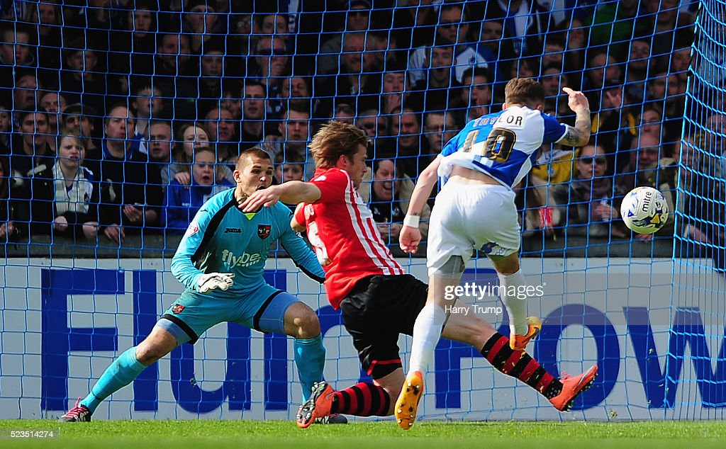 Matty Taylor of Bristol Rovers scores his sides third goal during the Sky Bet League Two match between Bristol Rovers and Exeter City at the Memorial Stadium on April 23, 2016 in Bristol, England.