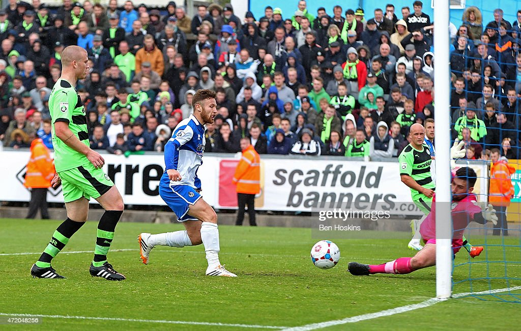 Matty Taylor of Bristol scores his team's second goal of the game during the Vanarama Football Conference League Play Off Semi Final Second Leg between Bristol Rovers and Forest Green Rovers at Memorial Stadium on May 3, 2015 in Bristol, England.