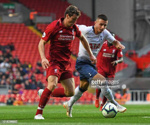Matty Virtue of Liverpool and Anthony Georgiou of Tottenham Hotspur in action during the Liverpool v Tottenham Hotspur PL2 game at Anfield on August...