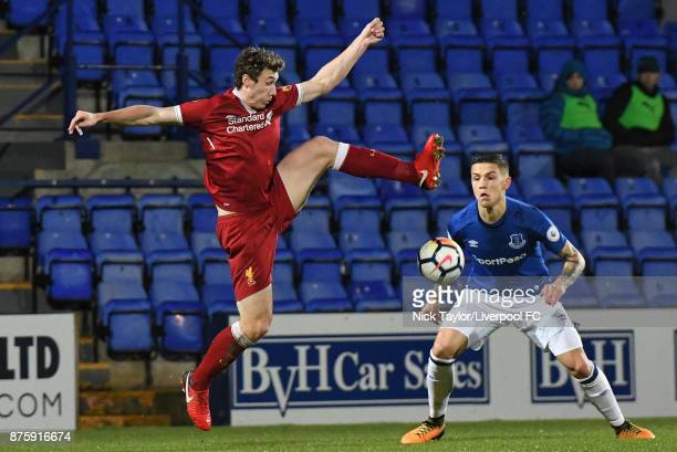 Matty Virtue of Liverpool and Muhamed Besic of Everton in action during the Liverpool v Everton Premier League 2 game at Prenton Park on November 18...