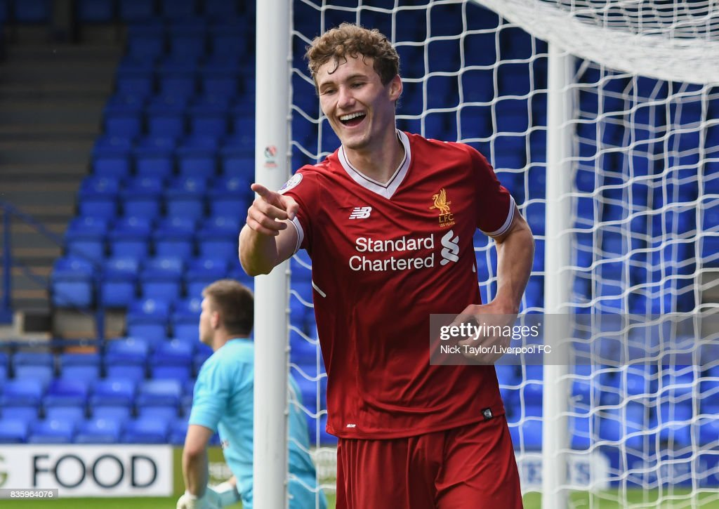 Matty Virtue of Liverpool celebrates his second goal during the Liverpool v Sunderland U23 Premier League game at Prenton Park on August 20, 2017 in Birkenhead, England.