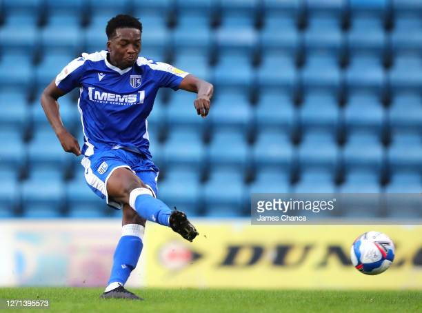 Matty Willock of Gillingham FC shoots during the EFL Trophy match between Gillingham and Crawley Town at Priestfield Stadium on September 08, 2020 in...