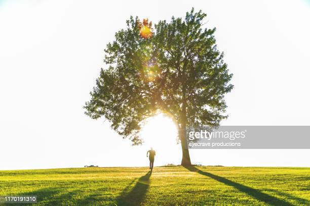 Mature Adult Male Running Into The Sunset Under a Large Tree