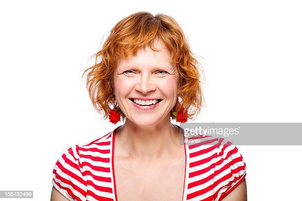 mature adult smiling - older redhead stock pictures, royalty-free photos & images