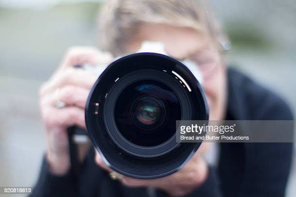 Mature Adult Woman Photographing