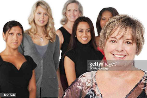 Mature Adult Woman With Group of Women