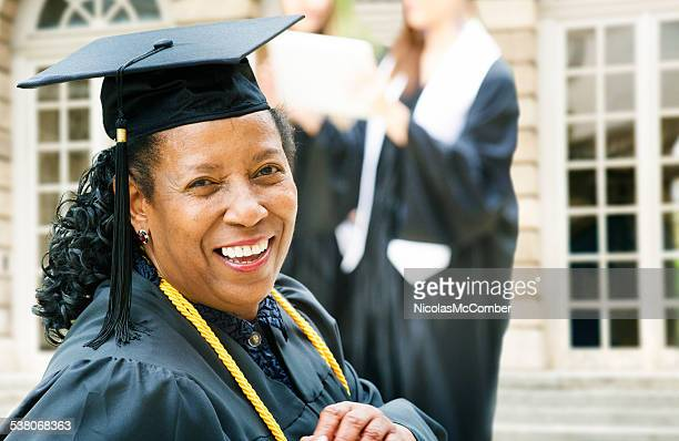 Mature African American woman on graduation day