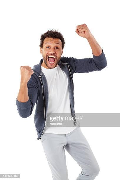Mature african man celebrating success