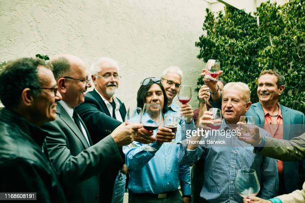 Mature and senior men toasting during cocktail party