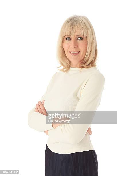 mature blond business woman with clipping path