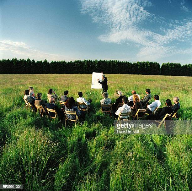 Mature businessman conducting presentation in field