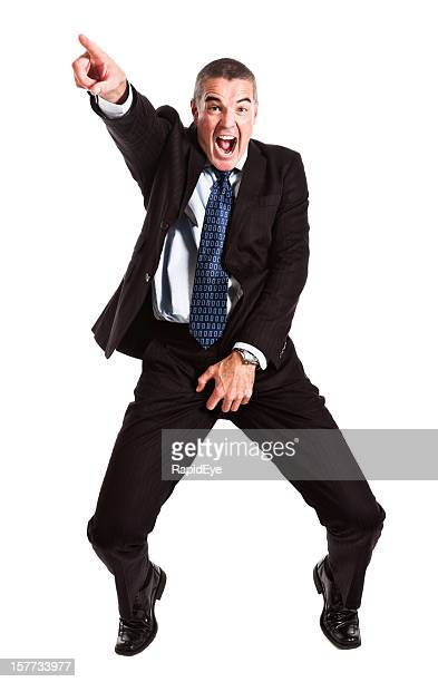 mature businessman does michael jackson grabbing groin impression - testis stock photos and pictures