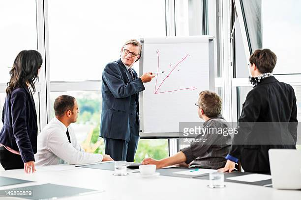 Mature businessman drawing a graph.
