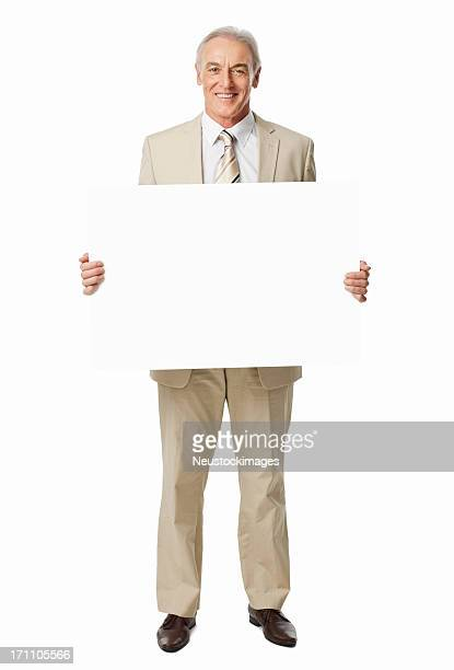 Mature Businessman Holding Blank Sign - Isolated