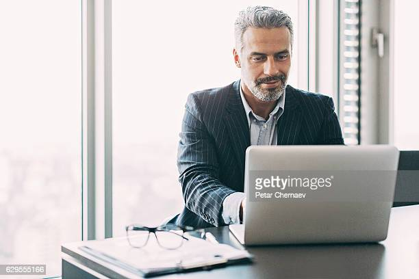 mature businessman in the office - using computer stock photos and pictures