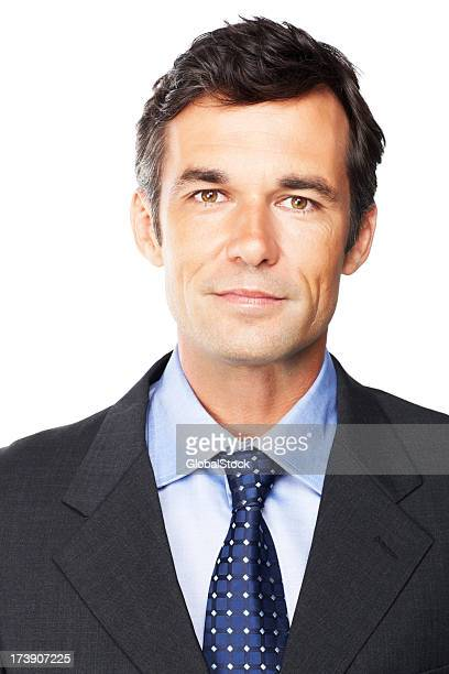 Mature businessman isolated over white