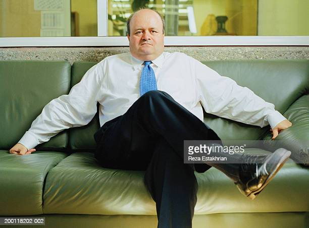 mature businessman sitting on leather sofa, portrait - chubby men stock photos and pictures
