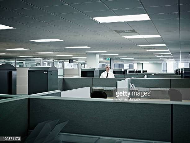 mature businessman standing alone in cubicle - office cubicle stock pictures, royalty-free photos & images