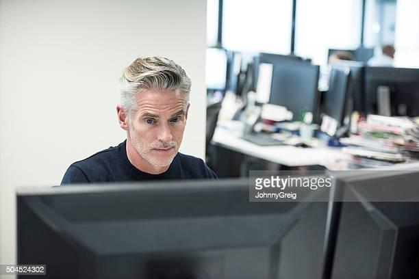 Mature businessman using computer in modern office