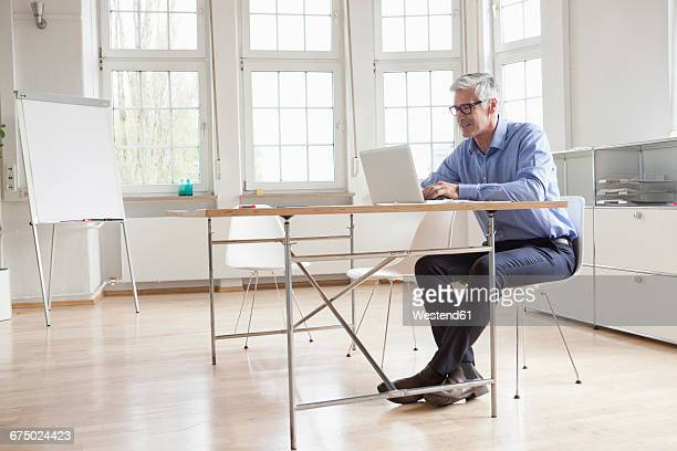 Mature businessman using laptop in bright office