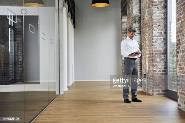 Mature businessman using tablet in modern office