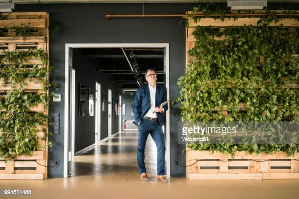 mature businessman with laptop standing in green office - sustainability stock photos and pictures