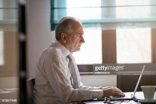 mature businessman working from home - working seniors stock pictures, royalty-free photos & images