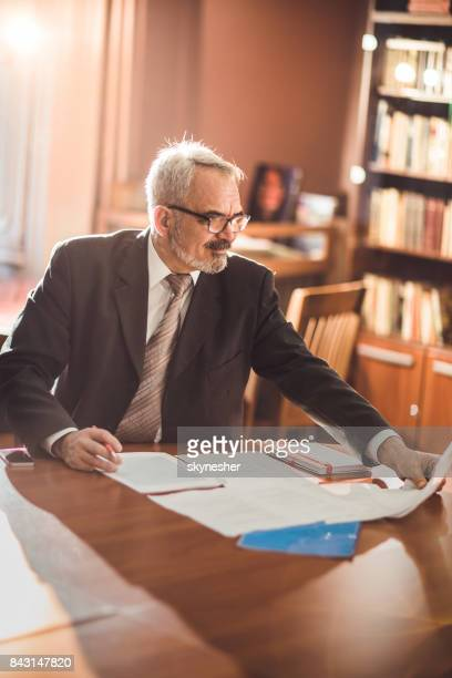 mature businessman working on paperwork at his office. - executive director stock pictures, royalty-free photos & images