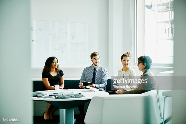 Mature businesswoman leading project meeting