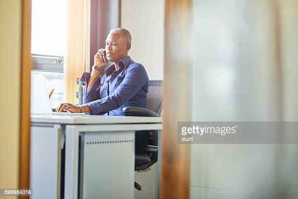mature businesswoman on the phone