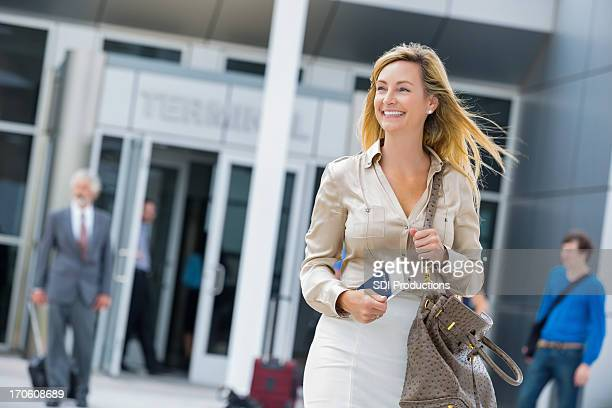 Mature businesswoman travelling in airport