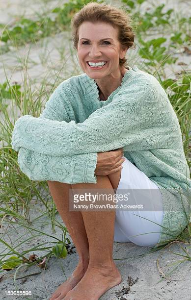 Mature Caucasian Woman Fifties on Beach.