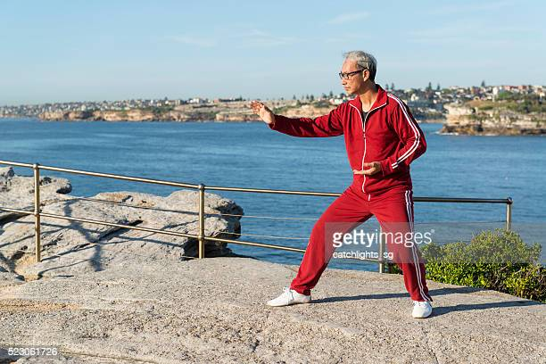 Mature Chinese Man Practising Tai Chi Chuan in Park
