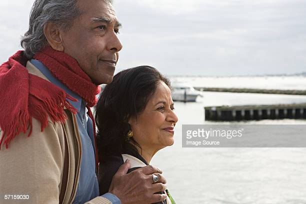 Mature couple at a harbour