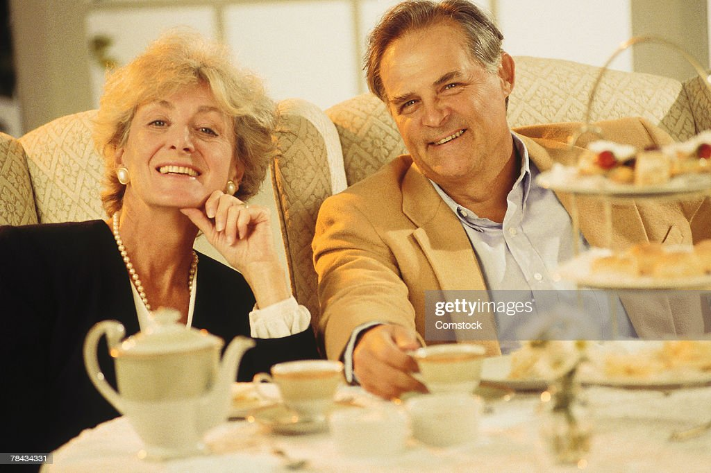 Mature couple dining out : Stock Photo